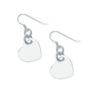 Dangle Earring, Ss Rhod Heart Earring