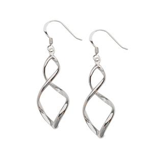 Dangle Earring, Ss Swirl Drop Fish Hook  Earrings (2.6G)