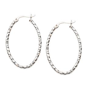 Hoop Earrings, Ss Dc Oval Hoop Earrings