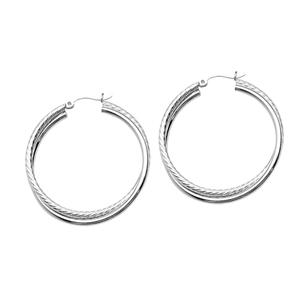 Hoop Earrings, Ss Double Rope Twist Hoop Earring