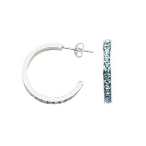 Hoop Earrings, Aqua Crystal Hoop Earring