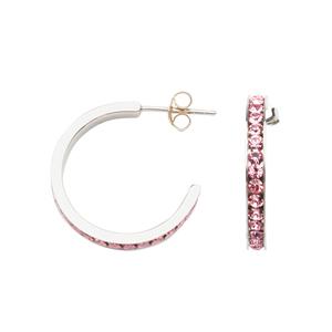 Hoop Earrings, Pink Crystal Hoop Earring