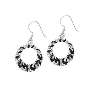 Dangle Earring, Zebra Crystal Round Drop Earring
