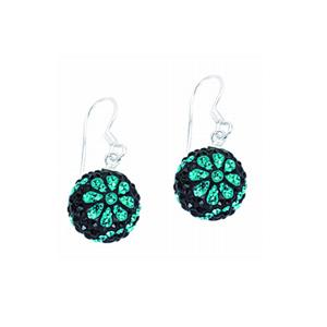Ball Earring,Midnight Flower Crystal Ball Earring