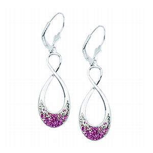 Hoop Earrings, Ss White/Pink Grad Figure 8 Earrings