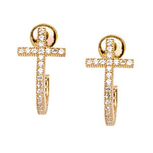 Dangle Earring, Ss Plated Cz Cross Earrings