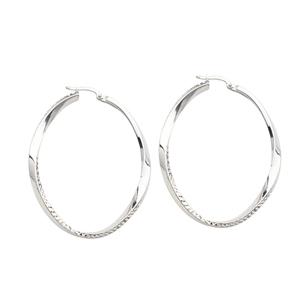 Hoop Earrings, Ss Rhod Hoop Ear