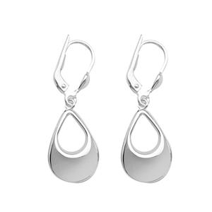 Dangle Earring, Ss Spiral Rhodium Ear
