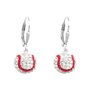Leverback Earring, Ss 8Mm Baseball Leverback Earrings
