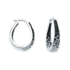 Hoop Earrings, Ss Round/Tapered In/Out Blck To Wht Ear
