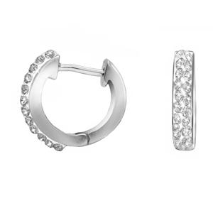 Hoop Earrings, Ss All White Crystal Huggies