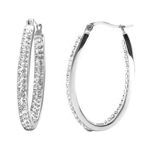 Hoop Earrings, Ss Sm In/Outside All White Crystal Hoops