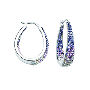 Hoop Earrings, Ss Round/Tapered In/Out Tanz To Wht Ear
