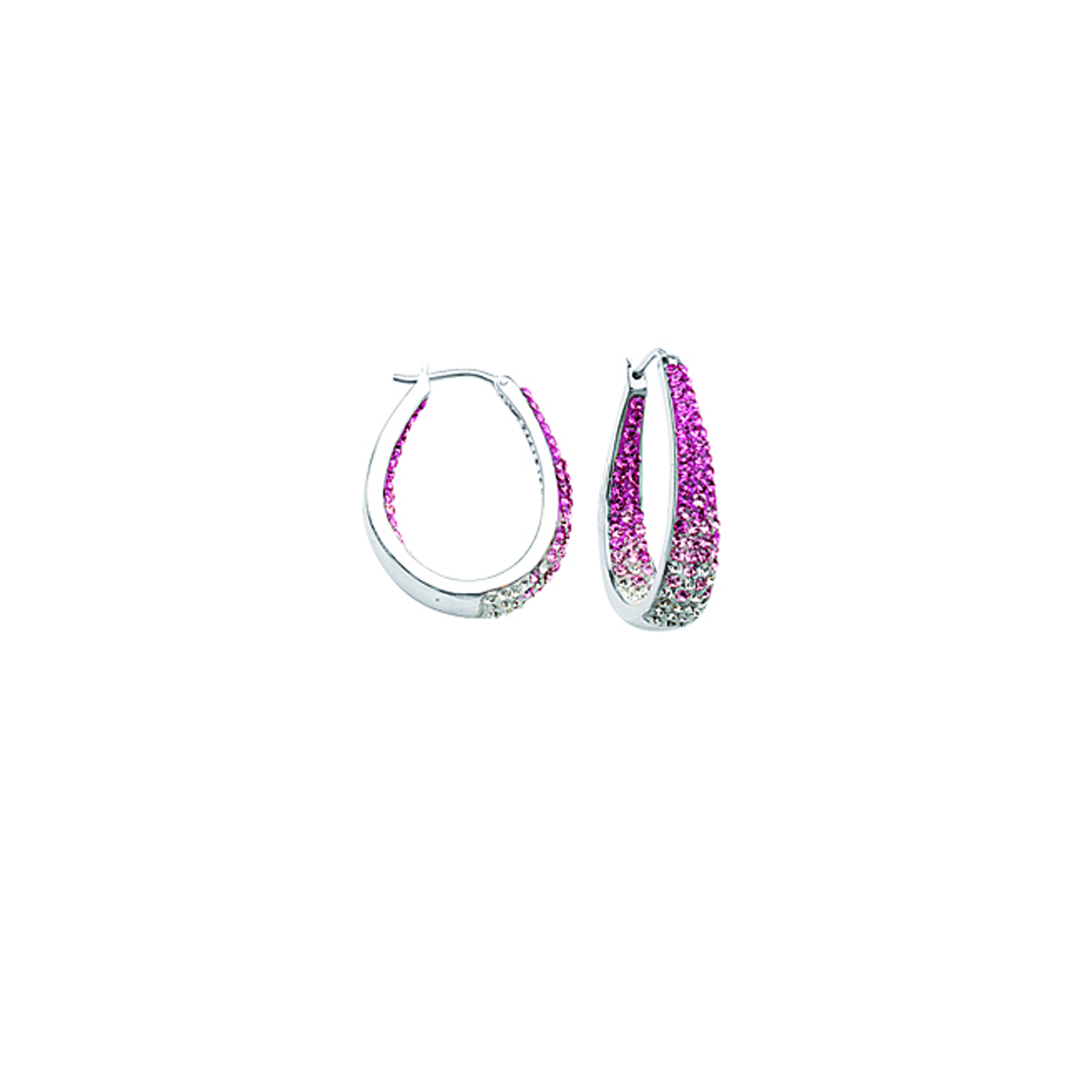 Hoop Earrings, Ss Round/Tapered In/Out Rose To Wht Ear