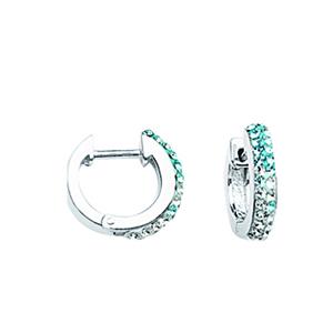 Hoop Earrings, Ss Crystal Graduated Blue To Wht Huggies
