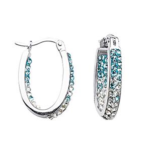 Hoop Earrings, Ss Sm In/Outside Grad Blue To Wht Hoops