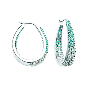 Hoop Earrings, Ss Round/Tapered In/Out Blue To Wht Ear