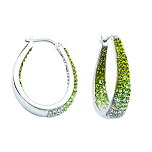 Dangle Earring, Ss Round/Tapered In/Out Grn To Wht Ear