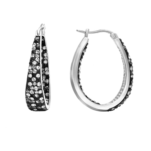 Hoop Earrings, Ss Round/Tapered In/Out Blck/Hem Crys