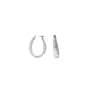 Hoop Earrings, Ss Round/Tapered In/Out Grey W/Wht Crys