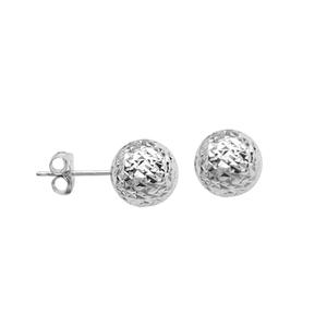 Ball Earring, Ss 8Mm D/C Ball Post Earring