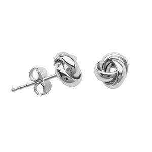 Stud Earring, Ss Med Open  3 Loop Love Knot Post Ear