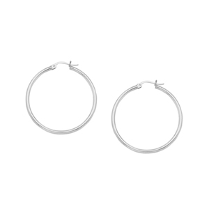 Hoop Earrings, Ss 2X15Mm Round Tube - Sh / Shiny