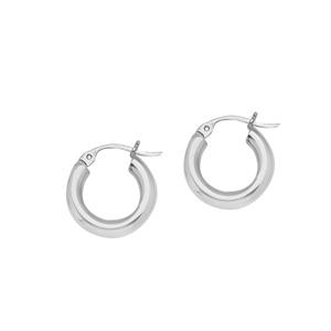 Hoop Earrings, Ss 3X15Mm Round Tube - Sh / Shiny