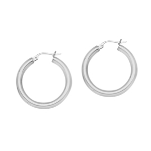 Hoop Earrings, Ss 3X20Mm Round Tube - Sh / Shiny