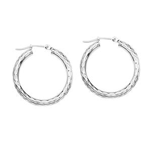 Hoop Earrings, Ss 30X30Mm All Dc Round Hoops/Rhodium