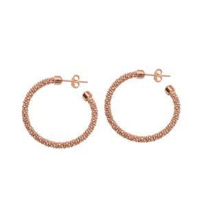 Hoop Earrings, Ss Bead Pnk Ear