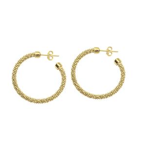 Hoop Earrings, Ss Bead Ylw Ear