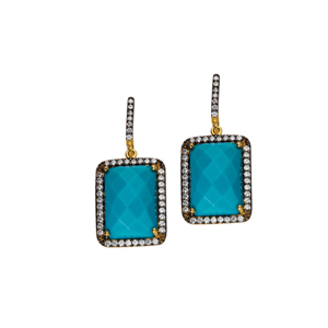 Dangle Earring, Sm Rectangle Shape Ea/Clr Cz/Turquoise