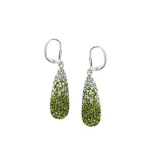 Dangle Earring, Lrg Crystal Teardrop Ea/Grad Clr/Peridot