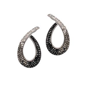 Ball Earring,Open Swirl Ear/Grad Clr To Jet Crystals