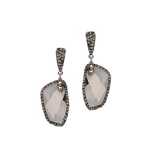 Hoop Earrings, Swarowski Crystal Free Shape Ear/Blk Dia
