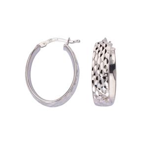 Hoop Earrings, Ss  Oval Hoop Ear/Full Dia Cut