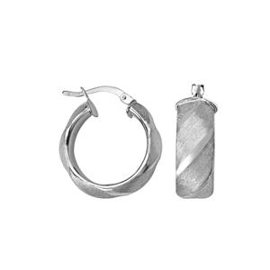 Hoop Earrings, Ss 8Mm Scallop Hoop Ear/Satin/Dc