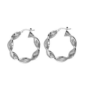 Hoop Earrings, Ss Twisted Hoop Earrings/Satin/Shiny