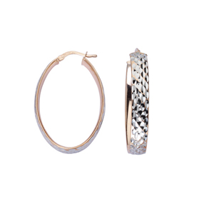 Hoop Earrings, Ss 6Mm Oval Hoop Ear/Full Dia Cut