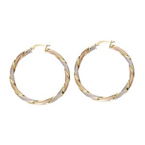 Hoop Earrings, Ss 35Mm Twisted Hoop Ear/Satin/Shiny