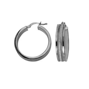 Hoop Earrings, Ss 6Mm X 20Mm Hoop Ear/Satin/Shiny Edge