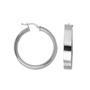 Hoop Earrings, Ss Flat Tube Hoop/Scallop Inside Surface