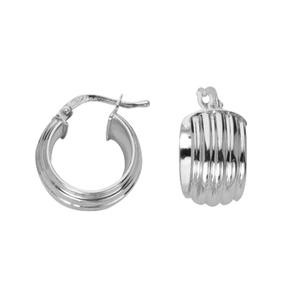 Hoop Earrings, Ss 8Mmx10Mm Puffed Ribbed Hoop Ear