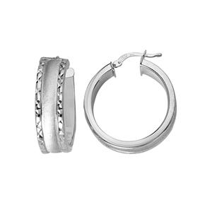 Hoop Earrings, Ss 8Mm Hoop/Satin W/Dc Edge