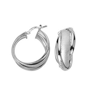 Hoop Earrings, Ss 3 Band Criss-Cross Hoop/Satin/Shiny