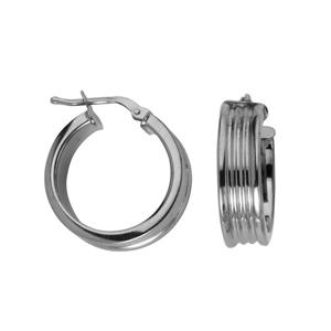 Hoop Earrings, Ss 6Mm X 15Mm Flat Ribbed Hoop Ear/Shiny