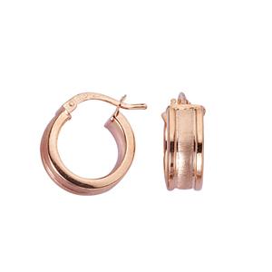 Hoop Earrings, Ss 6Mm X 10Mm Hoop/Satin W/Shiny Edge