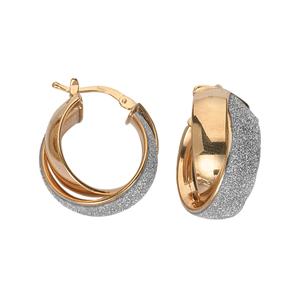 Hoop Earrings, Ss Fancy Criss-Cross Ear/Shiny/Laser
