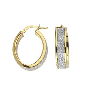 Hoop Earrings, Ss Fancy Oval Hoop Ear/Glitter Lightz